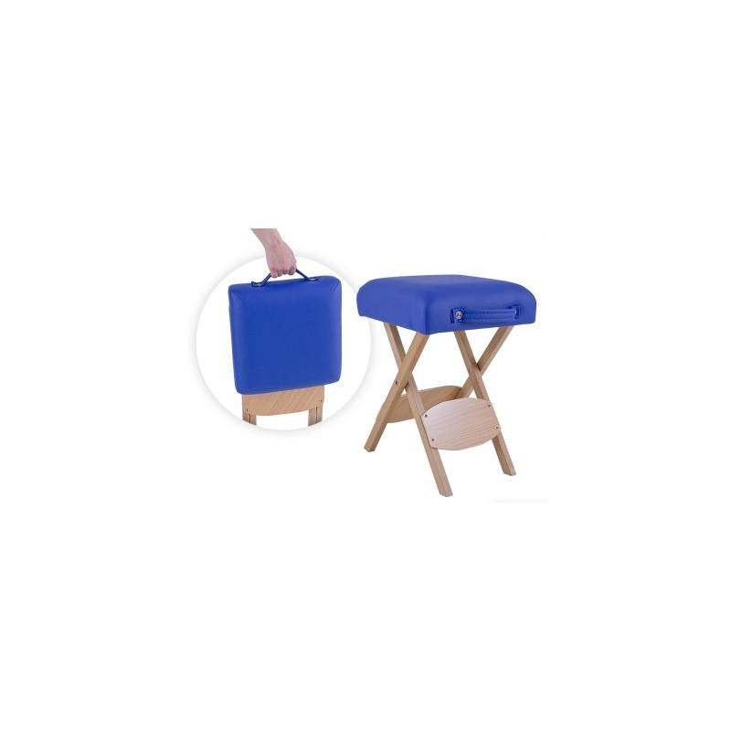 Taburete plegable de madera con asiento tapizado en color azul