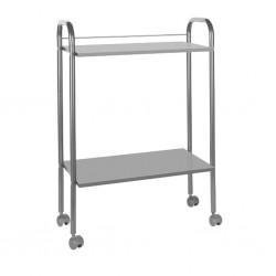Mesa carrito metal y madera 2 alturas gris