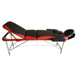 Camilla de Masaje Plegable y Portátil para Fisioterapia - Negro y Rojo- PU y Estructura Aluminio - 185x60 cm