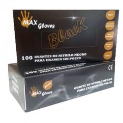 Guante de Nitrilo Negro Sin Polvo BLACK 5,5 grs - 100 unid Talla M