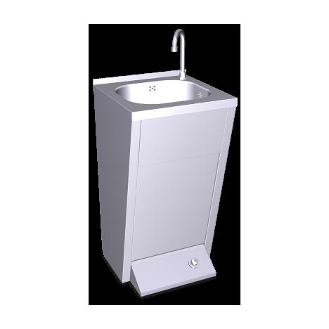 Lavamanos registrable con pedestal un pulsador agua fría y caliente