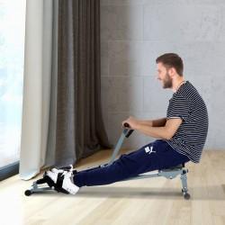 Máquina de Remo Ajustable con Pantalla para Fitness – Color gris - Acero, PVC – 130 x 67.5 x 67cm