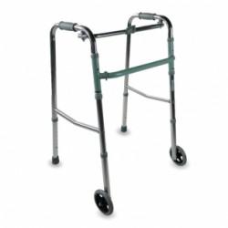 Andador para adultos de aluminio plegable con 2 ruedas regulable en altura