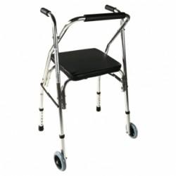 Andador para ancianos de aluminio plegable con asiento y respaldo de 2 ruedas plateado