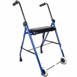 Andador para ancianos plegable asiento 2 ruedas azul