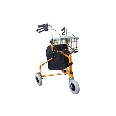 Andador para ancianos plegable con freno en manetas 3 ruedas y cesta naranja