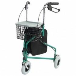 Andador para ancianos plegable con freno en manetas 3 ruedas y cesta en verde