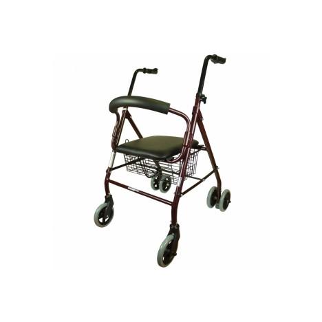 Andador para adultos de aluminio plegable con asiento y respaldo ce 4 ruedas y cesta