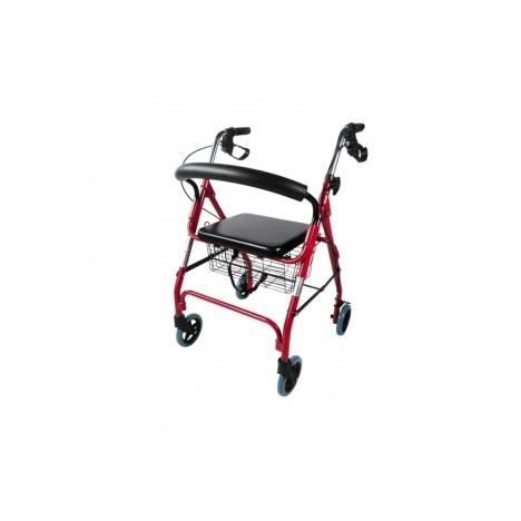 Andador para ancianos de aluminio plegable con freno en manetas y asiento y respaldo