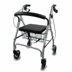 Andador para ancianos de aluminio plegable con frenos en manetas Deluxe Gris
