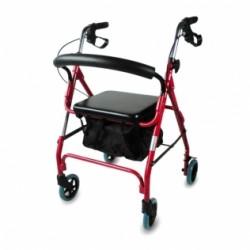 Andador para ancianos de aluminio plegable con frenos en manetas y asiento y respaldo 4 ruedas