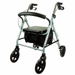 Andador para ancianos de aluminio plegable frenos en manetas asiento y respaldo con 4 ruedas en gris