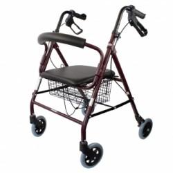 Andador para ancianos aluminio plegable frenos de maneta asiento y respaldo con 4 ruedas en color burdeos