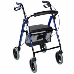 Andador para ancianos de aluminio plegable frenos en manetas asiento y respaldo con 4 ruedas en azul