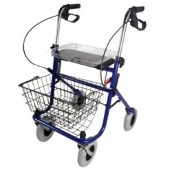 Andador para ancianos plegable freno en manetas asiento 4 ruedas cesta en azul