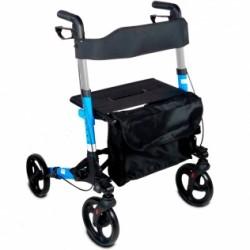 Andador para ancianos deluxe de aluminio plegable con frenos en manetas y asiento y respaldo con 4 ruedas