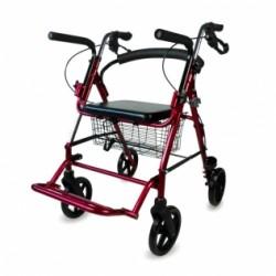 Andador para ancianos de aluminio plegable frenos en manetas asiento y respaldo 4 ruedas color burdeos