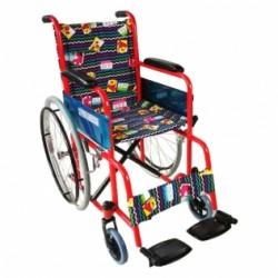 Silla de ruedas para niños plegable con ruedas grandes reposapiés rojo con tapicería estampada