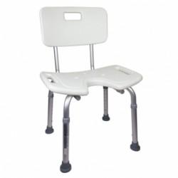 Silla de baño altura regulable respaldo asiento en U
