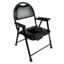 Silla WC plegable acero cromado reposabrazos negro