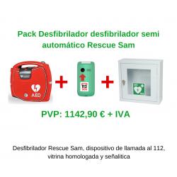 Pack Desfibrilador semiautomático + Dispositivo de llamada 112 + Vitrina