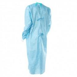 Bata quirúrgica azul cierre trasero con cintas 100 unidades