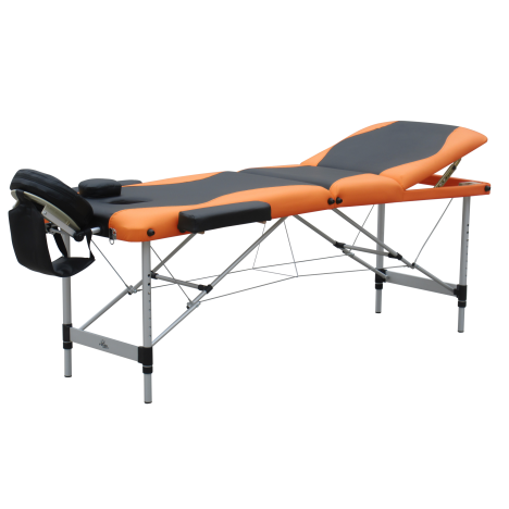 Camilla de Masaje Plegable y Portátil para Fisioterapia - Negro y Naranja - PU y Estructura Aluminio - 185x60 cm