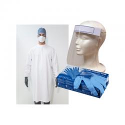 Pack Bata de trabajo, Máscara de Protección y Guante Desechable