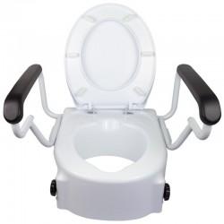 Elevador inodoro con tapa regulable en altura con alzador WC inclinable y reposabrazos abatibles