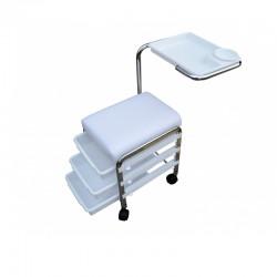 Taburete de Manicura Brevis: 3 cajones de almacenamiento y soporte lateral reposamanos giratorio