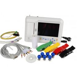 Eletrocardiógrafo 12 derivaciones, 3/6 canales, interpretativo, con pantalla