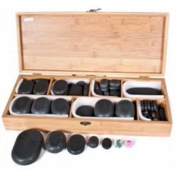 Piedras Calientes de Basalto para Terapias, Presentadas en Caja de Madera, Moldeadas a Mano 18 piedras