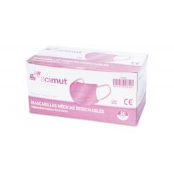 Mascarillas Quirúrgicas Tipo I EN14683 (con CE) 50uds ACIMUT colo rosa