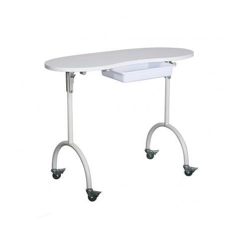 Mesa de Manicura Portátil Plegable Palmar: Equipada con cajón, cojín reposamanos y ruedas con bloqueo