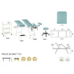 Pack equipamiento ginecología metálico blanco