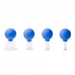Juego ventosas de cristal con pera de goma (Cuatro unidades)