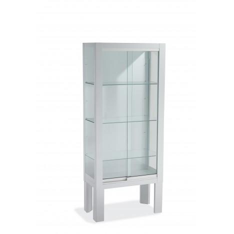 Vitrina Pie Corredera Blanca 60X30X140 cristal templado
