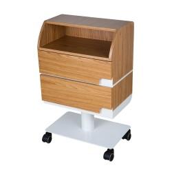 Carrito de madera color natural de diseño elegante: Equipado con dos cajones y un estante