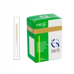 Aguja siliconada de acupuntura bañada en oro con cabeza y sin guía marca EnerQi 100 uds.