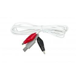 Cable blanco con pinzas tipo cocodrilo 3,5cm