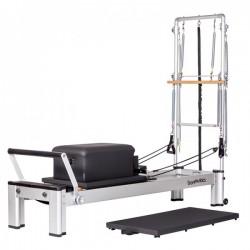 Reformer Monitor con torre de aluminio: Ideal para realizar múltiples ejercicios de fuerza y elasticidad (incluye mat y box)