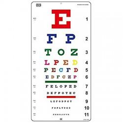 Snellen Tabla de ojos de color no reflectante con acabado mate para pared de 20 pies