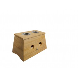 Caja de bambú para moxa en puro 2 orificio